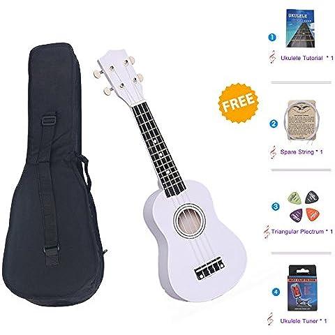 """21 Pulgadas Ukulele Soprano, SkySea 21"""" Ukulele Pequeña Guitarra para Principiantes de Música Guitarra Hawaiana con el Bolso y el Sintonizador, Perfecto para Niños, Adultos y Principiantes del Ukulele (Blanco)"""