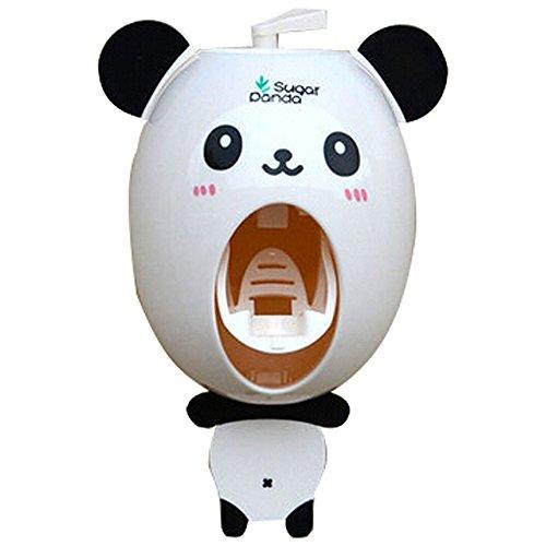 Automatische Zahnpasta Kinder kreative Cartoon Dispenser, Zahnbürste Zahnpasta Zahncreme Spender Bad Zitruspresse Zahnpasta Zahnbürstenhalter panda White-パンダ -