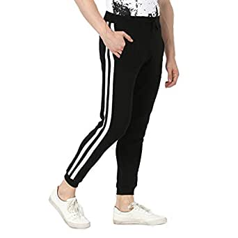 Alan Jones Clothing Men's Side Tape Cotton Slim Fit Joggers Track Pants (JOG19-SP01-BCK-S_Small_Black)