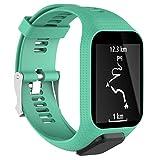 Xshuai Sports montre bracelet Sangle de élastique en silicone Femme Bracelet de rechange pour montre GPS TomTom Spark/3Sport M vert menthe
