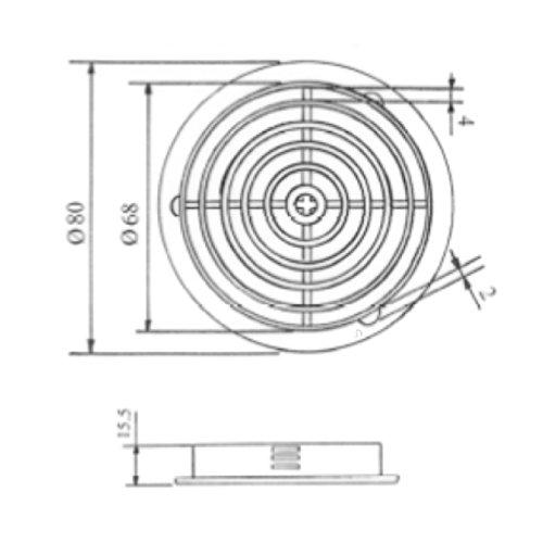 Home Smart Entlüftungshaube, 70mm, UPVC-Kunststoff, rund, Weiß, 25 Stück