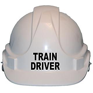 """Helm für Kinder, Aufschrift """"Train Driver"""", echter Harter Sicherheitshelm mit Kinnriemen, Größenverstellbar, geeignet für Kinder im Alter von 4–12Jahren, entspricht EN397-Sicherheitsstandard, weiß"""
