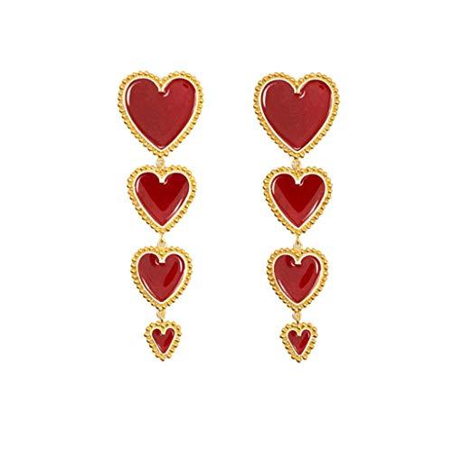 LILICAT_Schmuck Damen Böhmische Lange Ohrringe Baumeln Sterling Silber Liebes Herz Haken Ohrringe Vintage Anhänger Rote Liebe Geometrie Ohrringe Schmuck Geschenk (Herz Brighton Halskette)