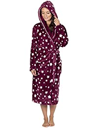 b2cf1af987 Forever Dreaming Ladies Womens Super Soft Star Hooded Robe Dressing Gown