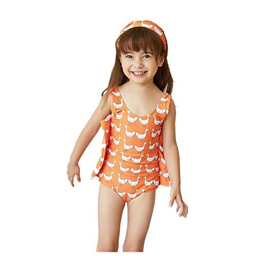 EXCLVEA-COP Personalisierte Mädchen Badeanzug einteilig Mädchen Badeanzug Kinder Druck Rüschen Schwimmen Kostüm Bademode Strand Badeanzug Kinder Badeanzug Badeanzug (Farbe : Orange, Größe : XXL)