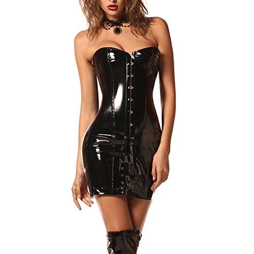 1be51eebd0165 Damen Korsett Kleid Steampunk Sexy Gothic Wetlook PVC Leder Latex Stahl  ohne Knochen Korsett Fancy Dress von Wonder Pretty