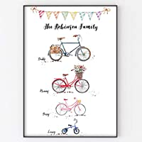 Bike Family Print, Bicycle Wall Personalised Art Gift for Home