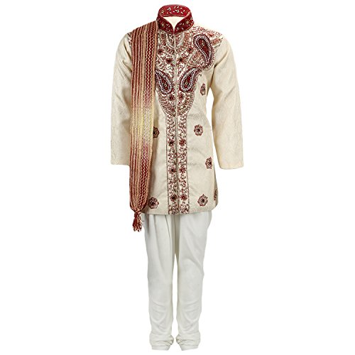 Klaud Zee Boy's Cotton SIlk Sherwani - CRM363, Cream and White, 2...