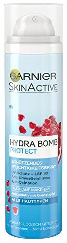 Garnier SkinActive Hydra Bomb Protect Feuchtigkeitsspray, erfrischt die Haut und schützt vor UV-Strahlung und Umwelteinflüssen, antioxidativ, 3er Pack (3 x 75 ml) - Hydra-spray