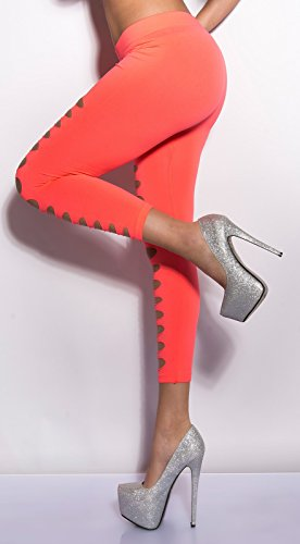 7/8Leggings Capri Pantalon avec fissures Cut Outs en noir et blanc turquoise vert fluo rose corail Taille unique Convient pour XS S M 343638de Fashion Design Corail