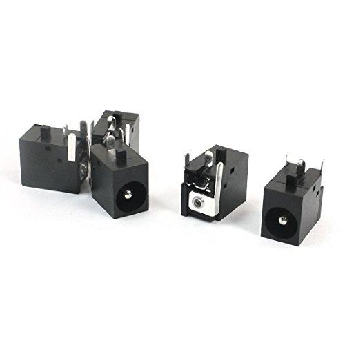 2.1mm x 5.5mm connettore femmina a 3 pin presa jack di alimentazione DC black 5 pezzi