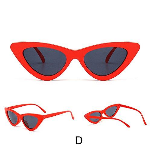 Honestyi Damenmode Cat Eye Shades Sonnenbrille Integrierte UV Bonbonfarbene Brille BZ556 Damen Katzenaugen Straße Schießen Trend Ozean Film