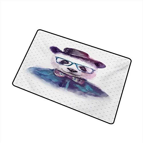 Kinhevao Lustige Handelsklasse Eingangsmatte Vintage Hipster Panda mit Fliege Dickie Hut Horn umrandeten Brille Aquarell Stil für Eingänge, Garagen, Terrassen, schwarz blau Badematte