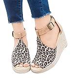 2019 Zapatos Peep-Toe Mujer, Sandalias De Talla Grande Con Plataforma Cuña Alpargatas Sandalias De Vestir De Boda Fiesta Calzado Bailarinas Zapatillas Con Hebillas(Amarillo, 35)