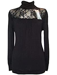 Lace Gothic Victorian Lace Roll Polo High Neck Top Blouse Sizes 16-26