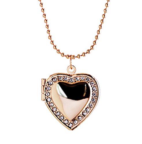 Heart Locket Anhänger Halsketten Gold überzogen Swarovski Elemente CZ Diamond Hold Pictures Frauen Männer