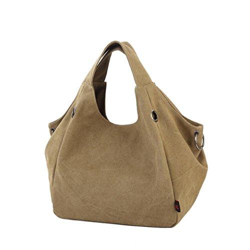 Transer Women Shoulder Bag Popular Girls Hand Bag Ladies Canvas Handbag, Borsa a spalla donna 32cm(L)*48H)*15cm(W), Army Green (Multicolore) - YLL60902521 Khaki