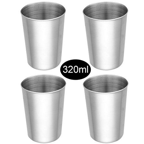 dPois 2/4er Set Trinkbecher Glaskessel aus Edelstahl Becher Tasse Schnaps Becher Outdoor Camping Becher 50ml/180ml/320ml/500ml Silber 320ml,4er