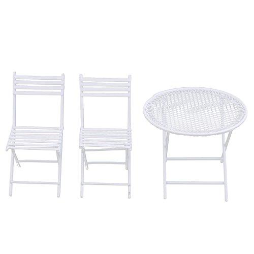 MagiDeal 1/12 Puppenhaus Miniaturmöbel Weiße Runde Tisch & 2 Stühle - 3pcs/ Set - Runde Tisch-stuhl-sets
