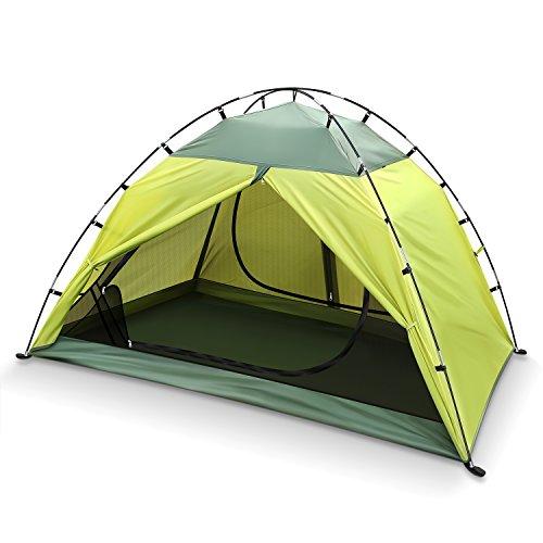 INTEY Kuppelzelt Campingzelt für 2 Personen inkl. Innenzelt als Moskitonetz, Wasserdicht Zelt mit 3000mm Wassersäule für Outdoor Touren und Camping, Grün