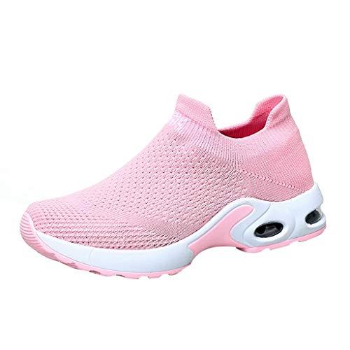 Sportschuhe Frauen Soft Sneaker,Laufschuhe Damen Laufschuhe Qualität Wildleder-Casual Mesh Atmungsaktiv Turnschuhe-Schnürer Walk Outdoor Athletisch Sneaker URIBAKY