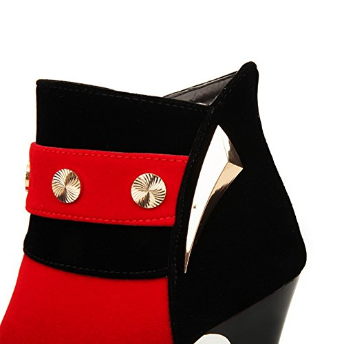 VogueZone009 Rond Haut Talon Mosaïque Rouge Femme Bottes à Cheville De xxrA70