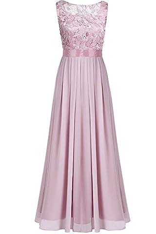 iEFiEL Damen Kleid festliche Kleider Brautjungfer Hochzeit Cocktailkleid Chiffon Faltenrock Elegant Langes Abendkleid Altrosa 36