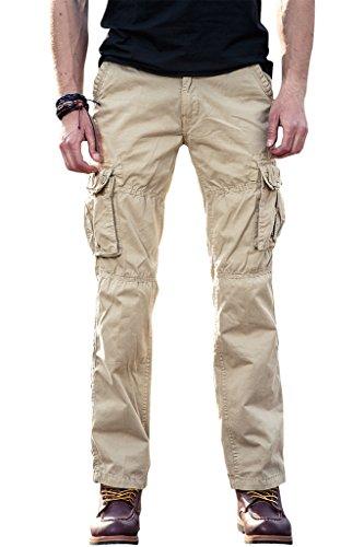 100% Baumwolle Casual Hosen für Männer Loose Fit Cargo Hosen Pants Arbeitshosen von INFLATION,Khaki,30 (Fit Khaki)
