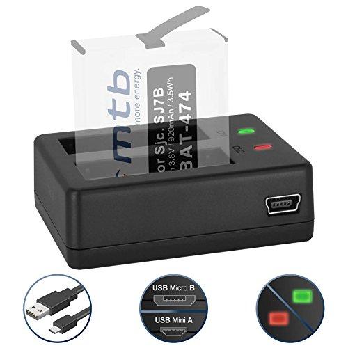 Galleria fotografica Caricabatteria doppio (USB) per SJCAM SJ7 Star 4K NATIV WiFi (Black / Silver / Rose Edition), SJ7000 Star Actioncam - Cavo USB micro incluso (2 batterie simultaneamente caricabili)