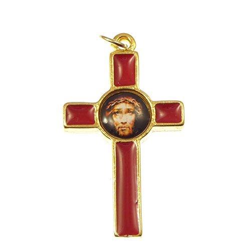 R Heaven Katholische Rosenkranz Kreuz Kruzifix mit dem Gesicht Jesu Bild - rot 36mm