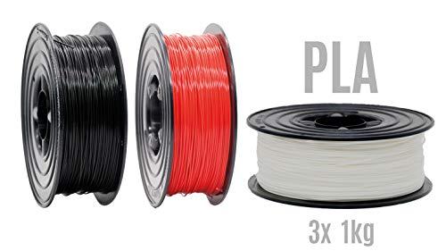 PLA Filament 3D Drucker 1,75mm / 3x 1kg Rolle Schwarz Rot Weiß für 3D Printer oder Stift 3er Set (3Kg)