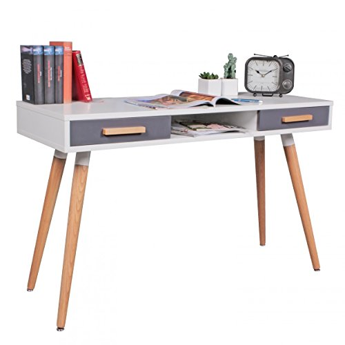 wohnling schreibtisch mdf retro holztisch 120cm breit schubladen wei b ro tisch design. Black Bedroom Furniture Sets. Home Design Ideas