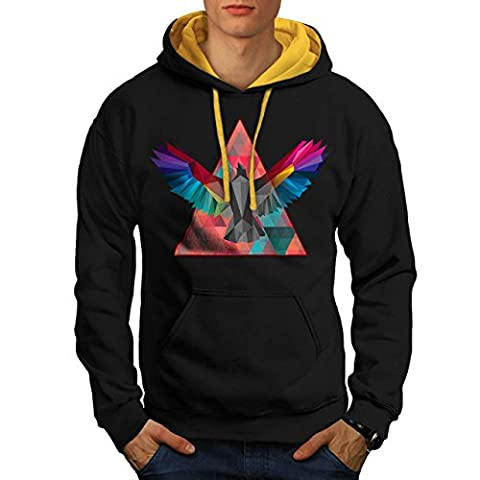 Géométrique Oiseau Mode Oiseau Vol Men M Sweat à capuche contrasté | Wellcoda