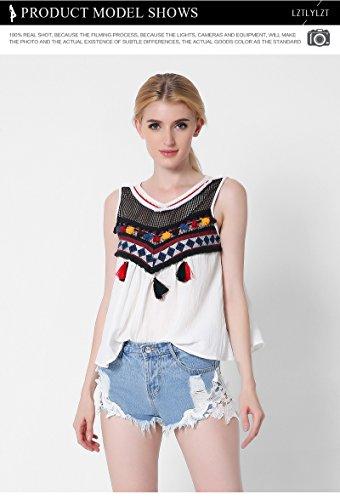 BININBOX Damen elegant Top mit Quaste sticken armellos Shirt Tops Sommer Weiß Blau Weiß