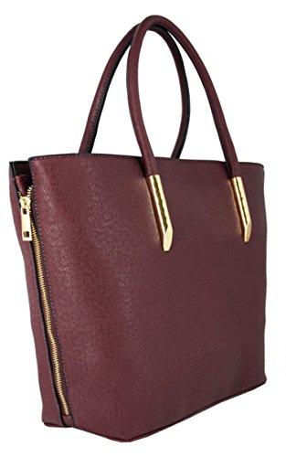 CRAZYCHIC - Borsa a mano donna - Zip oro e lati estensibili - Grande formato e lunga maniglia - Imitazione Saffiano pelle - Large Tote Hobo shopper bag - per studente lavoro i corsi Bordeaux Rosso