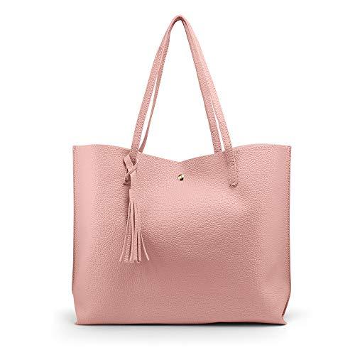 OCT17 Damen Einkaufstasche - Quasten Kunstleder Schulter handtaschen, modehandtaschen Satchel Messenger Bags einheitsgröße dunkelgrau (Kalk Für Erwachsene Kostüm)