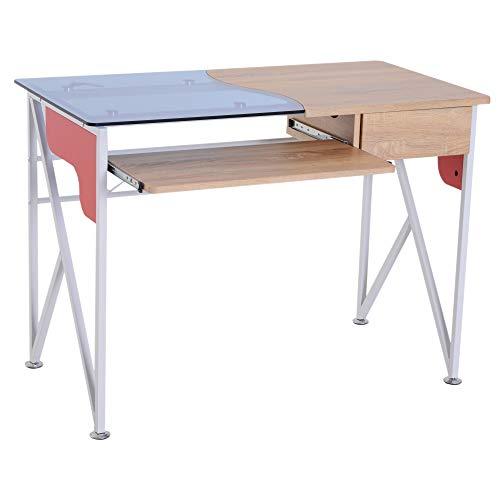 HOMCOM Computertisch PC-Tisch mit Tastaturauszug Schublade Schreibtisch Arbeitstisch Bürotisch MDF + Metall + Hartglas Mehrfarbig 105 x 55 x 75 cm