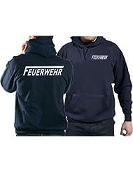 """Kapuzensweater FEUERWEHR in navy mit silber reflektierendem beidseitigem Schriftzug mit langem """"F"""""""