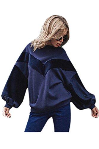 Le Donne Inverno Puff Manica In Maglione Outercoat Felpa Top Darkblue