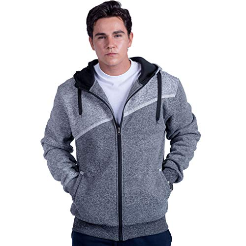 Leehanton Herren Heavy Fleece Hoodie Full Zip Colorblock Fashion Athletic Sweatshirt Jacke Spring Coat - - X-Groß -