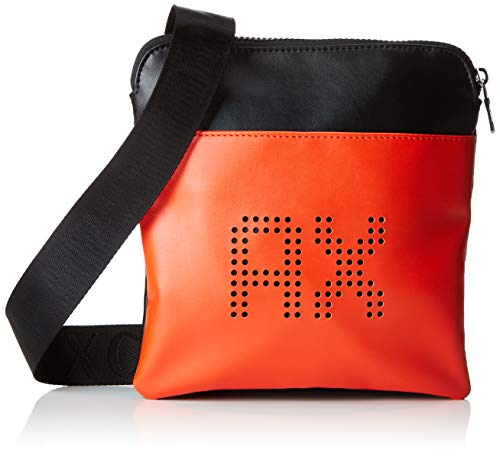 Armani Exchange Herren Perforated Leather Business Tasche, Rot (Black/Flame), 12x5x16 cm