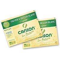 Canson C à grain Lot de 2 Papier à dessin 24 x 32 cm Blanc