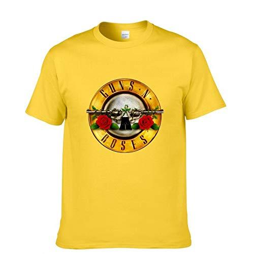 JJZHY Rock Guns N \'Roses Kurzarm T-Shirt Herren GNR Band Lässige Baumwolle Kurzes T-Shirt,Gelb,L