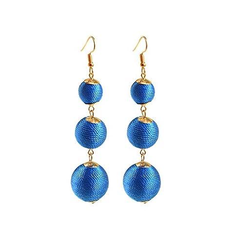 Gazechimp 1 Paar Damen Bommel Perlen mit Garn Hängende Ohrringe 8cm Handgefertigte Schmuck - Blau
