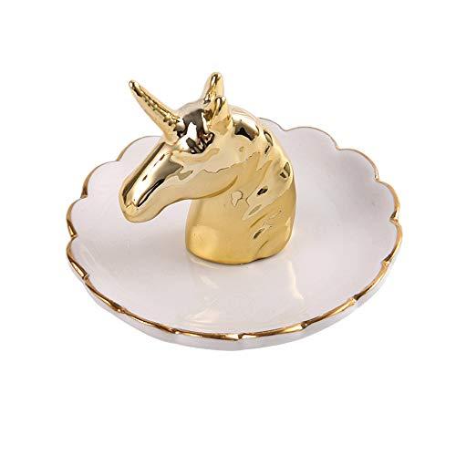 Mebeauty-Box Stand di Gioielli Unicorno per Unicorno per Un Compleanno Femminile Organizzatore di Orecchini per Collana (Colore : Oro, Dimensione : 14x12cm)