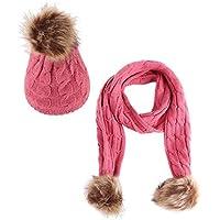 HHL Juegos De Bufandas para Sombreros, Invierno para Niños, Cálidos, Simples Y Transpirables Gorros, Talla Única Más Colores (Color : Rosa roja)