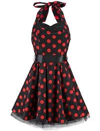 H&R London Robe BIG DOTS SHORT DRESS noir-rouge