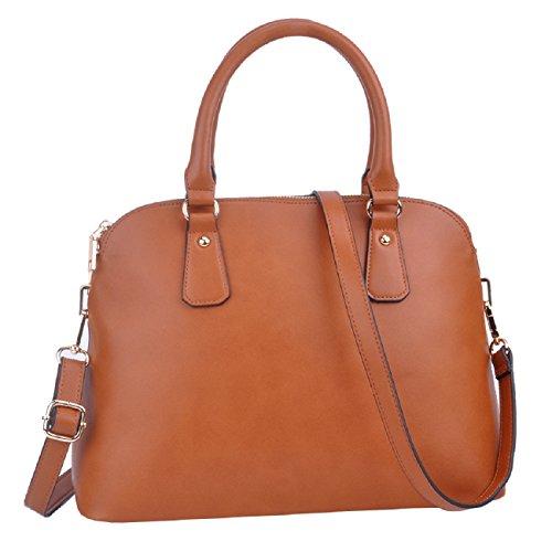 Handtaschen,SPSHENG Handtaschen für Damen Leder lässig Designer Schulter Handtasche (1-Brown)