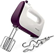 Philips HR3740/11 Viva Collection Hand Mixer -White/Deep Purple, 400W, Stainless Steel Hooks, 5 speeds + turbo
