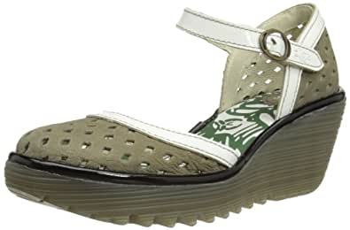Fly London  Yana Perf, Sandales pour femme Vert Khaki/Offwhite/Black 35 (3 UK)